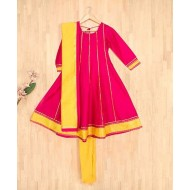 Silverthread Kalidar Kurta With Churidar & Dupatta Set, Fuschia